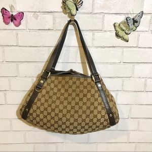 Gucci GC Abbey Monogram Canvas Tote Bag Medium